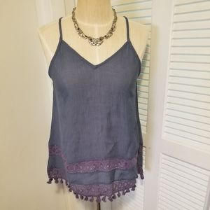 Blue Tank with lace detail